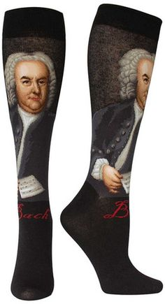 Composer Socks | The Sock Drawer (They have Beethoven, Bach, Mozart, and Haydn.  These are the Bach Sachs.)