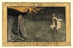 Walpurgisopfer – Fidus (German illustrator and painter Hugo Reinhold Karl Johann Höppener) This drawing refers to the ancient May Day advent of St Walpurga, associated with witches, bonfires, and Spring Rites in Nordic lands.