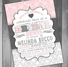 Damask Bridal Shower Invitation Wedding Shower by CLaceyDesign, $15.00