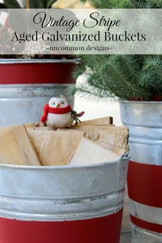 Create beautiful Vintage Stripe Aged Galvanized Buckets a rustic holiday decoration. Fill the buckets to create a cozy feel. Halloween Door Decorations, Christmas Decorations To Make, Thanksgiving Decorations, Christmas Crafts, Homemade Christmas, Christmas Ideas, Holiday Decorating, Christmas Inspiration, Rustic Thanksgiving