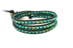 Iridescent Peacock Color Teal Blue Seed Bead Leather by CraeVita, $67.00