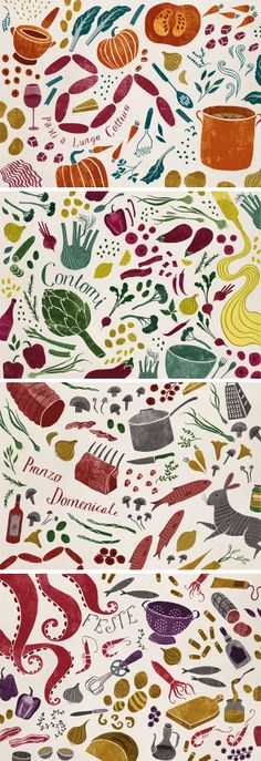 Food illustrations for Gennaro Contaldo by Sara Mulvanny. I love food illustrations! Type Illustration, Pattern Illustration, Food Illustrations, Food Patterns, Inspirational Artwork, Food Drawing, Freelance Illustrator, Food Design, Creative Inspiration
