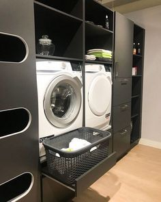 perfect laundry room designs ideas for small space 14 Modern Laundry Rooms, Laundry Room Layouts, Laundry Room Organization, Basement Laundry, Laundry In Bathroom, Laundry Tips, Interior Design Living Room, Living Room Designs, Utility Room Designs