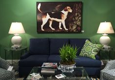 Trends for 2016 seen at High Point Market spring 2015. Dramatic color! Green walls with the navy blue sofa is such a bold, statement-making color combination.  (C.R.Laine showroom)