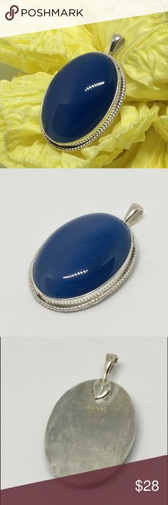 "Pretty Blue Stone Pendant This is a pretty blue stone in the quartz family. I acquired it from a lapidary estate sale and set it in a sterling silver setting designed by me in my studio. It measures 1"" x 1 1/4"".  I will include a 20"" silver plated chain. designsbysteve Jewelry Necklaces"
