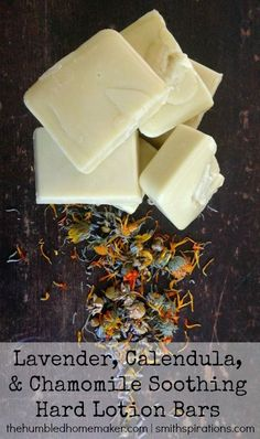 This DIY hard lotion bar recipe features an herb-infused oil, shea butter, beeswax, and lavender essential oil. Keep your hands smooth and moisturized this winter!