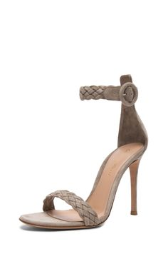 Image 2 of Gianvito Rossi Braided Ankle Strap Suede Heels in Dust Suede