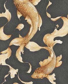 Wallpaper  Metallic Wallpaper  Fish Wallpaper  Modern   Etsy
