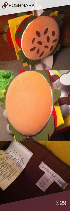 Pottery barn Kids hamburger costume!! Felt plush hamburger/cheeseburger costume 2T-3T. Fits 2-4 yr old children pottery barn kids Accessories