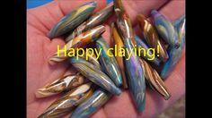 Polymer Clay Long  Barrel Beads