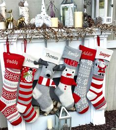 Fun Personalized Knitted Christmas Stockings - Kids Santa Moose Striped Snowman Snowflakes - Scandinavian Intarsia Nordic Look Knitted Christmas Stocking Patterns, Family Christmas Stockings, Knitted Christmas Stockings, Xmas Stockings, Christmas Knitting, Christmas Crafts, Christmas Sock, Christmas Sewing, Christmas Ideas