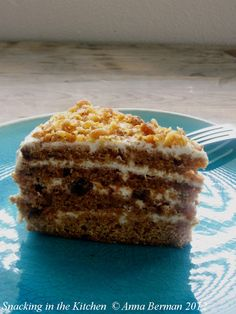 Let there be cake! Birthday cake request fulfilled - honey cake layers with sour cream frosting and toasted walnuts #dessert #birthday #cake