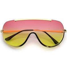 65bfd68a2ca6 Oversize Semi Rimless Shield Sunglasses With Metal Trim Gradient Colored  Mono Lens 65mm (Gold   Red Yellow)
