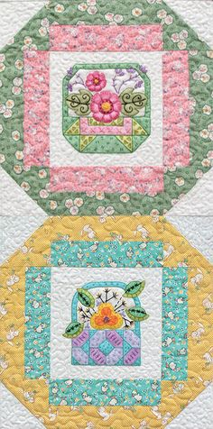 Miss Birdie's Baskets- Crayon & Embroidery