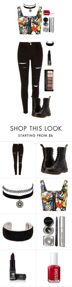 """""""Life Like A Comic"""" by lovecarabear ❤ liked on Polyvore featuring River Island, Dr. Martens, Charlotte Russe, WearAll, Isabel Marant, Bobbi Brown Cosmetics, Manic Panic and Essie"""