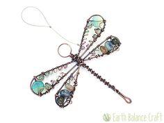 Suncatcher libélula azul Aqua libélula cobre por EarthBalanceCraft