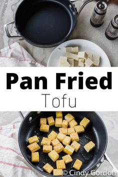 two pan fried tofu pictures one of completed pan fried tofu and one of an empty skillet Recipes Using Tofu, Tofu Recipes, Vegetarian Recipes, Sweets Recipes, Healthy Recipes, Pan Fried Tofu, Tofu Breakfast, Vegetarian Casserole, Allergy Free Recipes