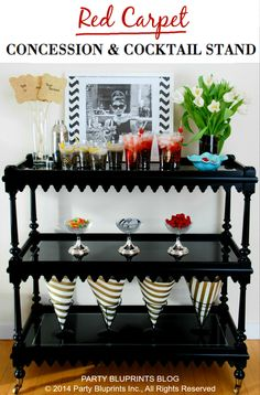 Love this glamorous yet simple red carpet concession and cocktail stand idea via @Party Bluprints Blog, so fun!
