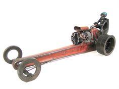 Reserved for Tim Flowers - Recycled Metal Rat Rod Dragster Sculpture - Slingshot…