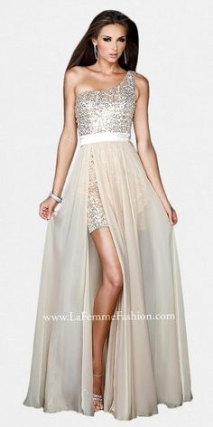 Sexy evening dress from La Femme with a short sequined one shoulder underlay and long sheer chiffon skirt with slit up t...Price - $398.00 - 9Sgr7RxW