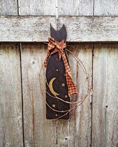 Halloween Decoration Wood Plaque Black Cat Fall by KithKinCrafts, $23.95