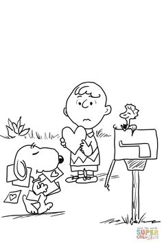 Charlie Brown Valentine Coloring Pages