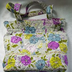 Vera Bradley Watercolor Laura Cinch Tote Shoulder Bag Retired Rare #VeraBradley #CinchTote