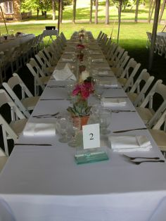 Long Table at an Outdoor Wedding outside Bryn Du Mansion