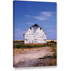 Kathy Yates Old White Barn Gallery-Wrapped Canvas, Size: 12 x 18, Blue