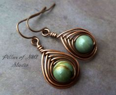 Copper earrings / wire wrapped jewelry by PillarOfSaltStudio, $20.00