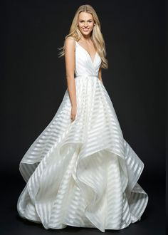 Style 6661 Decklyn Hayley Paige bridal gown - Ivory striped organza bridal ball gown, draped ballerina bodice with curved V-neckline, open back with cut-out detail, full cascading skirt. Organza Bridal, Wedding Dress Organza, New Wedding Dresses, Perfect Wedding Dress, Bridal Dresses, Gown Wedding, Preppy Wedding Dress, Lace Wedding, Blush Bridal