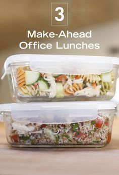 Taking care of your meal planning on the weekend frees up so much time in your week. These make-ahead, healthy lunches for the office are easy and can be stored in the fridge until you're ready to grab and go.