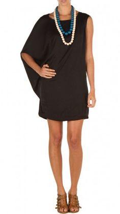 Black One shoulder draped dress  #dress
