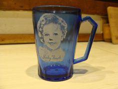 Vintage Cobalt Blue Glass Shirley Temple by NewOxfordVintage