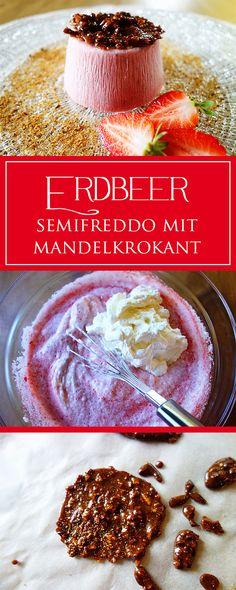 Erdbeer-Semifreddo mit Mandelkrokant - ein traumhaft erfrischendes & herrlich erdbeeriges Rezept! Außerdem einfach & glutenfrei ❤️ | cucina-con-amore.de