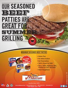Midamar Halal Seasoned beef patties and 100% Beef Burgers! Hot off the grill! www.midamarhalal.com