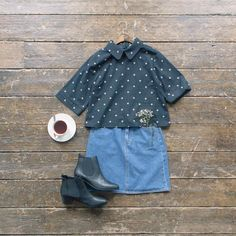 "1,338 Likes, 4 Comments - Olive | Contemporary Lifestyle (@oliveclothing) on Instagram: ""Tea break. Round neck flower crop blouse, denim mini skirt and made-to-measure Chelsea boots online…"""