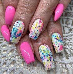 Nail Designs Spring, Gel Nail Designs, Colorful Nail Designs, Acrylic Nail Designs For Summer, Round Nail Designs, Colorful Nail Art, Fingernail Designs, Best Nail Art Designs, Simple Nail Designs