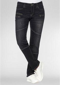 sheego Denim Gerade Stretch-Jeans mit Knieabnäher und Zipper – black Denim