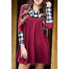 Casual Cowl Neck Plaid Print Spliced Long Sleeve T-Shirt Dress For Women
