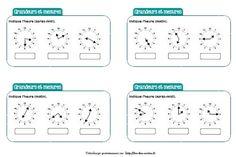 J'ai choisi de préparer des chronofiches sur la lecture de l'heure et la mesure de durées car c'est vraiment une notion qui pose problème à mes élèves (REP+). Cela me permet ainsi de rebrasser régulièrement la notion régulièrement et notamment le positionnement de la petite aiguille qui pour eux n'est vraiment pas évident. Cycle 3, How To Plan, Ainsi, Montessori, Math Workshop, Calculus, Water Cycle
