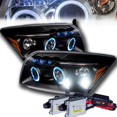 HID Xenon + 07-12 Dodge Caliber Angel Eye Halo & LED DRL Projector Headlights - Black
