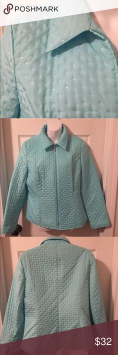 🙃 TALBOTS QUILTED POLKA SWISS DOT PUFFER JACKET 🙃 PRICE DROP - was $32 🙃                                              TALBOTS AQUA BLUE QUILTED POLKA SWISS DOT FULL ZIP WOMEN'S LIGHT JACKET SIZE 10 