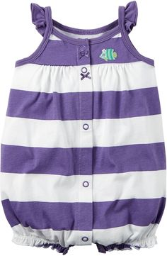 Carters Baby Girls Snap-Front Striped Romper Fish Art Purple 9M * Additional details at the pin image, click it  : Baby clothes