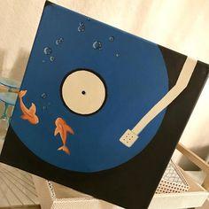 Koi Fish on Record Vinyl Player Acrylic Square Canvas Original