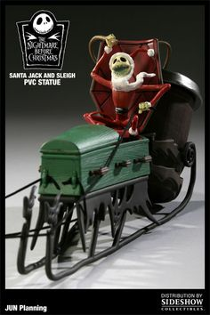 Nightmare Before Christmas Santa Jack and Sleigh PVC Figure. Modeling a Halloween prop after this. Christmas Town, Christmas Villages, Christmas Stuff, Xmas, Black Christmas, Christmas 2015, Tim Burton, Halloween Jack, Halloween Prop