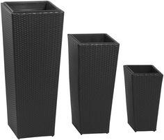 Pflanzgefäße Polyrattan, 3er-Set, schwarz 46x46x105cm, 37x37x77cm, 28x28x51cm