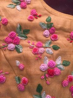 beautiful broader you. Embroidery On Kurtis, Hand Embroidery Dress, Kurti Embroidery Design, Embroidery Neck Designs, Embroidery Stitches Tutorial, Embroidery Works, Simple Embroidery, Embroidery Fashion, Hand Embroidery Patterns