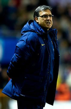 Head coach Gerardo Martino of Barcelona reacts during the la Liga match between Levante UD and FC Barcelona at Ciutat de Valencia on January 19, 2014 in Valencia, Spain.