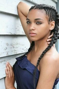 cornrows + long braids  |  natural hair transition style. I think this is so pretty! Not for me of course but it still is very nice